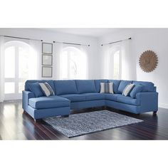 Fall in love with the Brioni Nuvella Blue Left Arm/Right Arm Facing Sofa Sectional Room Group by Signature Design by Ashley at Direct Value Furniture proudly serving Roscoe, IL and surrounding areas for over 10 years! Grey Leather Sectional, Blue Sectional, Reclining Sectional, Black Sofa Living Room Decor, New Living Room, Night And Day Furniture, Atlantic Furniture, Moe's Home Collection, Color Azul