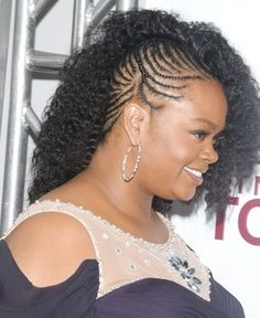 "Jill Scott's faux ""side shave"" 'do can be turned into a get-up-and-go style by gathering all of your natural hair into tiny, precise cornrows, and adding loosely waved extensions that fall to one side."