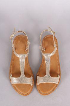 Bamboo T-Strap Open Toe Flat Sandal