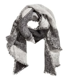 Check this out! Large scarf in woven fabric with a brushed finish and a printed pattern. Fringe trim on all sides. Size 23 1/2 x 78 3/4 in. - Visit hm.com to see more.