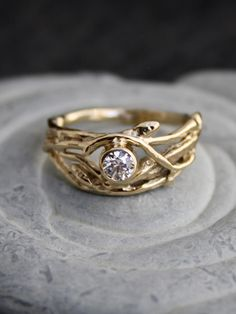 "Twig branch diamond ring- ""I am the vine and you are the branches.  Apart from me you can do nothing."" John 15"