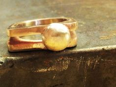 Vintage ring brass and silver by bluehamer on Etsy