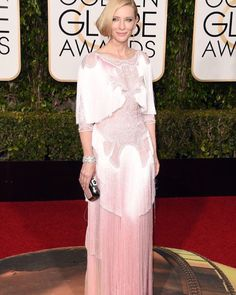 @cateblanchett is lovely in a light pink modest cape dress with a fringe detail by Givenchy #givenchy#goldenglobes#modestfashion#hautestyle