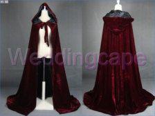 Wine red velvet satin hooded cape