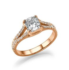 1.26ct Split Shank  Rose Gold Vintage Engagement ring with diamond