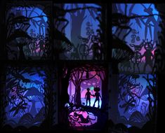Andrea Dezso - The Day We Changed Our Lives Forever /left: Mushroom Forest, middle: Devil's Den, right: We Play.  Cut-out, hand sewn paper tunnel books with interactive LED lights. (LED engineering: Sandy Chen)
