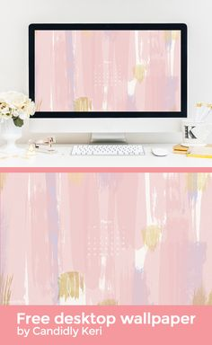 Pink stripes paint with blue, lavender and gold March calendar 2017 wallpaper you can download for free on the blog! For any device; mobile, desktop, iphone, android!
