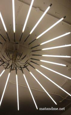 fluorescent tube chandelier - Google Search
