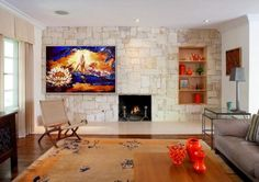 What a great match, the colours of my painting'There is always light' and the interior of this room.