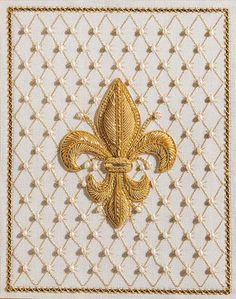 Florentine Fleur de Lys - American Needlepoint Guild, Inc. Embroidery Suits Design, Gold Embroidery, Embroidery Stitches, Embroidery Patterns, Machine Embroidery, Crazy Quilting, Gold Work, Designers Guild, Embroidery Techniques