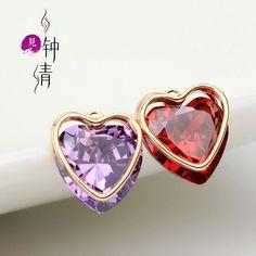 Exquisite Mini Crystal Heart Stud Earrings