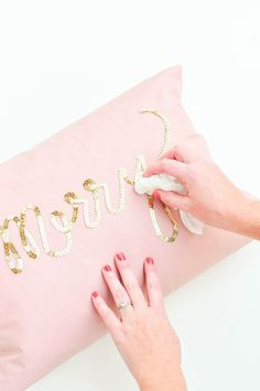 DIY Sequin Pillows | cheap IKEA pillows would be perfect
