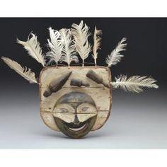 Mask: spirit face, Yupik Eskimo, late 19th century, Geographic location: Lower Yukon River area, Alaska, United States, Wood, paint, feathers, and gut, Dallas Museum of Art, gift of Elizabeth H. Penn