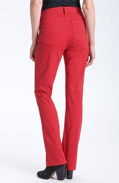 Lucious Red! NYDJ 'Marilyn' Straight Leg Stretch Twill Jeans available at #Nordstrom