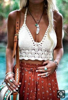 Crochet top crochet beach top crochet fashion crochet etsy boho chic styles to try this summer Mode Hippie, Mode Boho, Boho Outfits, Fashion Outfits, Cute Hippie Outfits, Summer Outfits Boho Chic, Gypsy Style Outfits, Coachella Outfit Boho, Fashion Clothes