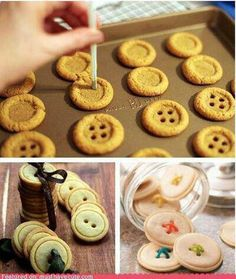 DIY BUTTON COOKIES http://www.red-brolly.com/red-brolly/2011/09/h.html