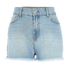Light wash high waisted Darcy denim shorts ($20) ❤ liked on Polyvore featuring shorts, bottoms, pants, high waisted shorts, high rise shorts, high-waisted shorts, jean shorts and light wash jean shorts