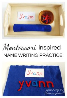 name writing practice with Montessori moveable alphabet