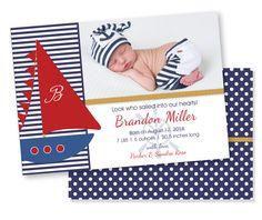 Customized Nautical Navy and Red Birth Announcement for Baby Boy 5x7 Front and Back- DIGITAL FILES for Printing