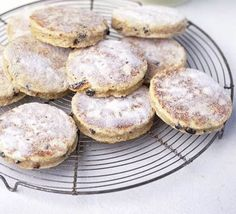 Pice ar y maen, a Welsh teatime treat passed on through generations and still as popular as ever. Perfect for making with the children. From BBC Good Food. Welsh Cakes Recipe, Welsh Recipes, Bbc Good Food Recipes, Cooking Recipes, Yummy Food, Delicious Desserts, Healthy Recipes, Scones, Raspberry Crumble
