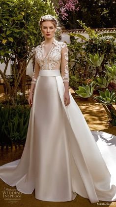 maria salas 2019 bridal illusion 3 quarter sleeves collar v neckline sheer embellished bodice a line ball gown wedding dress clean skirt chapel train mv -- María Salas Wedding Dresses Modest Wedding Dresses, Elegant Wedding Dress, Elegant Dresses, Bridal Dresses, Pretty Dresses, Wedding Attire, Gown Wedding, Wedding Dress Collar, 2 In 1 Wedding Dress