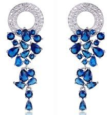 White Gold Plated CZ LONG DROP DANGLE EARRINGS Emerald Green, Sapphire Blue