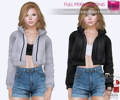 c59ff19e782e Second Life Marketplace - Full Perm Cropped Open Front Hoodie Top FITMESH -  Slink - Maitreya - Belleza