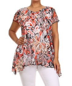 Look at this #zulilyfind! Orange Status Sidetail Top - Plus by Seven Karat #zulilyfinds