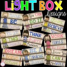 10 light box designs with inspirational quotes that students will love!I printed mine on Vellum paper and you could also use transparency paper! Classroom Setup, Classroom Design, Classroom Organization, Classroom Management, Classroom Hacks, Light Up Box, Light Board, New Quotes, Inspirational Quotes