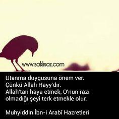 Utanma duygusuna önem ver. Çünkü Allah Hayy'dır. Allah'tan haya etmek, O'nun razı olmadığı şeyi terk etmekle olur. Muhyiddin İbn-i Arabî ...