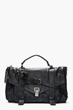 469b18dfe3 Proenza Schouler Medium Black Lux Leather Ps1 Messenger Bag for women