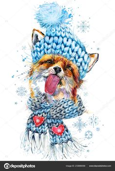 Illustration about Cute fox in a knitted hat with snowflake watercolor background. Illustration of scarf, clothing, sketch - 134354894 Fuchs Illustration, Winter Illustration, Watercolor Animals, Watercolor Art, Wild Forest, Fox Art, Cute Fox, Forest Animals, Watercolor Background