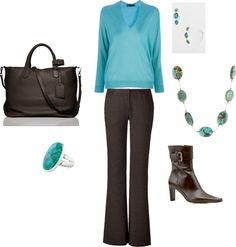 Business Casual-Turquoise & Brown