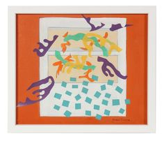 """89099- Gwen Stone, Mid-Late 20th Century, Acrylic and Collage on Paper Board, Entitled, """"Cut Outs"""", 13""""x11"""" Framed $465"""