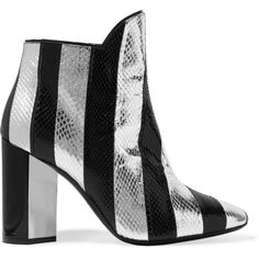 Pierre Hardy Belle striped watersnake ankle boots ($1,595) ❤ liked on Polyvore featuring shoes, boots, ankle booties, silver, pierre hardy, zipper boots, ankle boots, shiny boots and zip boots