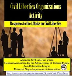 Civil Liberties Organizations (1920's America) Your students will be engaged in this interactive activity to learn about the civil rights organizations developed at the turn of the century in America: The American Civil Liberties Union (ACLU), the National Association for the Advancement of Colored People (NAACP), the Anti-Defamation League (ADL) and the Universal Negro Improvement Association (UNIA). #U.S. History Lesson Plans #Roaring '20's #teaching strategies