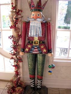 Tall Standing Nutcracker::Painted Tin?