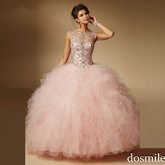 2016 sweet 16 dresses sheer neck Ball Gown light pink red Quinceanera Dresses Long puffy Sparkle Crystals Dress masquerade Gowns(China (Mainland))