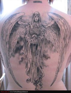 Large Angel Tattoo On Back Body