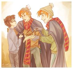The Weasley twins and Harry.