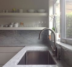 backsplash detail - Grohe Dual Spray Pull-Down Faucet: Remodelista