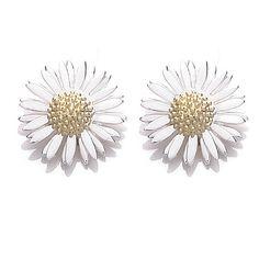 DAISY LONDON Womens Silver 8mm Daisy Stud Michaelmas Earrings