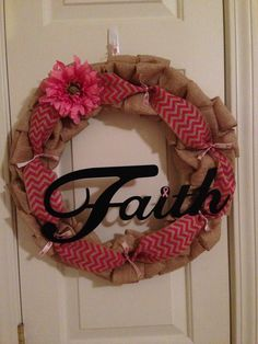 Breast cancer burlap wreath - but make gold for Pediatric Cancer Awareness!
