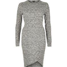 Grey ribbed wrap bodycon dress £28.00