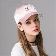 Personalized metal ring baseball cap for women hip hop style