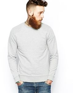 ASOS Sweatshirt With Pique Shoulder And Elbow Patches XL