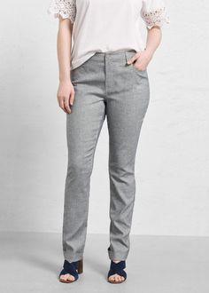 Kalhoty ze směsi lnu a bavlny - Kalhoty Velké velikosti | Violeta by MANGO Česká republika Mango, Portugal, Zip, Grey, Fashion, Big Sizes, Manga, Gray, Moda
