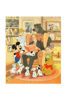 Walt and some of his beloved characters!  - Very cool print.