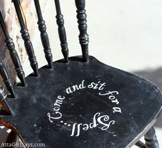 Painted black sit for a spell chair