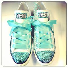 Women's Custom Bling Converse for bridesmaids - Mint Bedazzled Rhinestones Converse with Bows